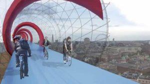 Le SkyCycle ou comment survoler la ville en vélo